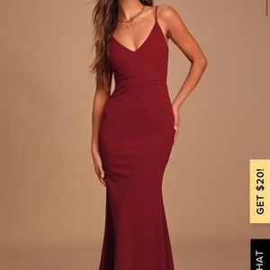 Lulu's Infinite Glory Wine Red Maxi Dress